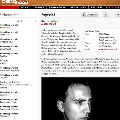 Interview with Monomood for banq.de